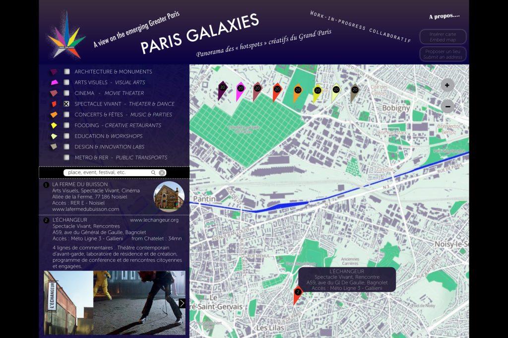 Projet Paris Galaxies : Recherche pour le design de plateforme cartographique et collaborative.