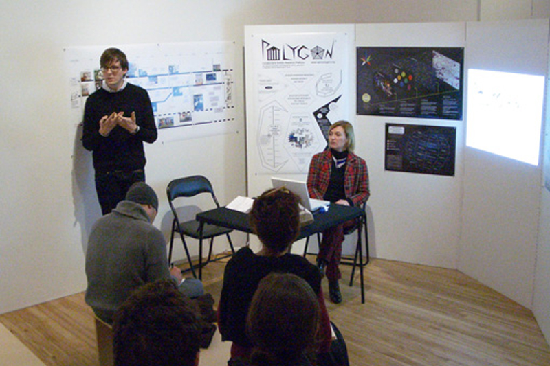 "Launching of the Polygon at ""The Incidental Person (after John Latham)"", Curator: A. Hudek, Apex Art, NY, 2010."