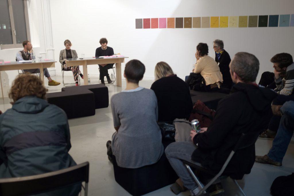 """Table ronde, exposition et lancement du livre """"Sémiospace"""", galerie Forde Genève"""